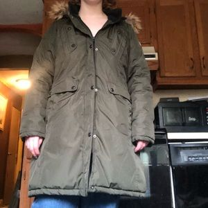 Madden girl army green long puffer jacket